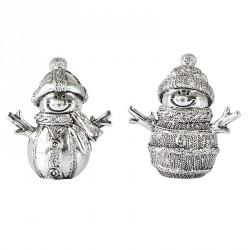 Snemænd i sølv-look, sæt med 2