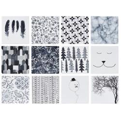 Lystallerken med print, sort/hvid