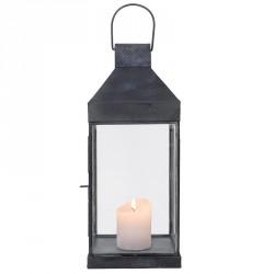 Lanterne, sort metal og rustfrit stål